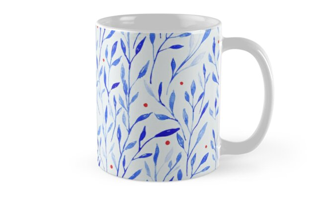 ?Watercolour Frozen winter leaves and berries? Mug by CraftCartwright