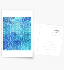 Abstract Watercolor polygon cube gift Postcards