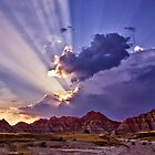 Heavenly Rays Over the Badlands by Kathy Weaver