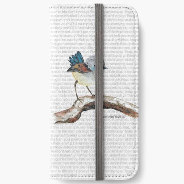 Don't worry, bird watercolor / Matthew 6:26-27 iPhone Wallet