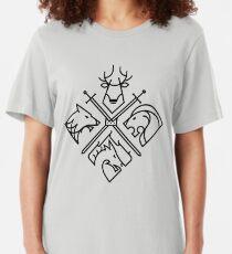 Game of Thrones Houses - Schwarzes Logo Slim Fit T-Shirt