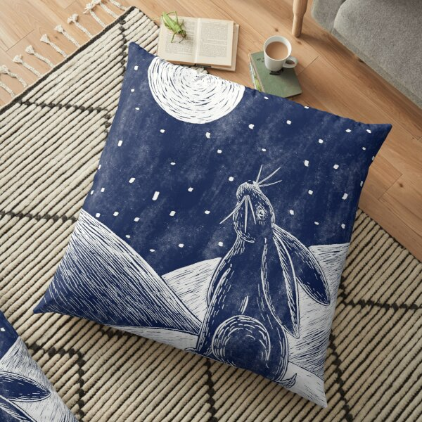Moon hare in the snow Floor Pillow