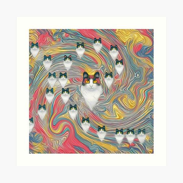 Abstract fibonacci cats Art Print