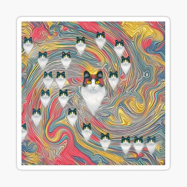 Abstract fibonacci cats Sticker