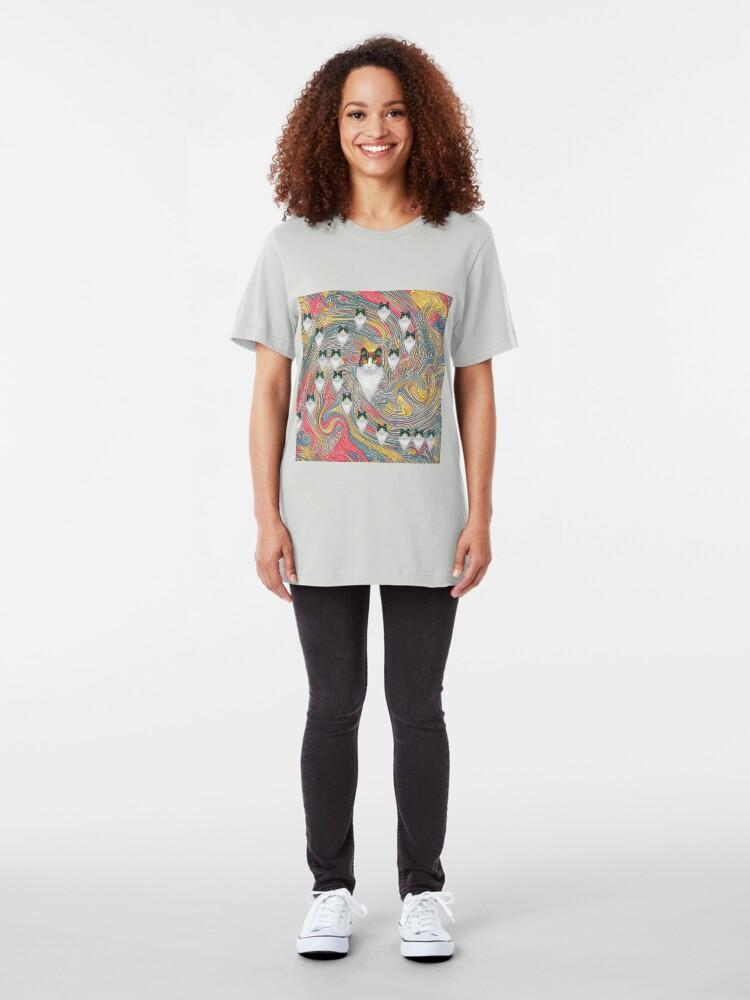Alternate view of Abstract fibonacci cats Slim Fit T-Shirt