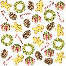 Christmas Watercolor Illustration Pattern by Erika Lancaster