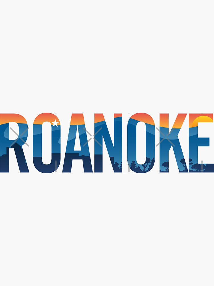 Roanoke pride illustration with mountains, star, city scape and sunset by hobrath