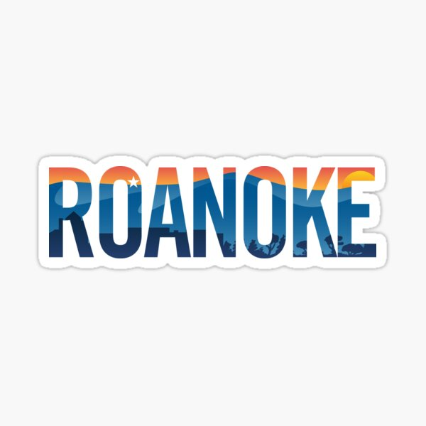 Roanoke pride illustration with mountains, star, city scape and sunset Sticker