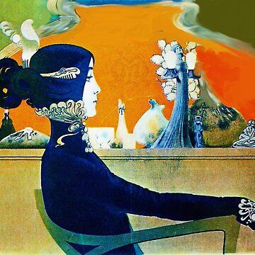 DIVA IN BLUE ,ART NOUVEAU BEAUTY FASHION IN GREEN ORANGE YELLOW by BulganLumini