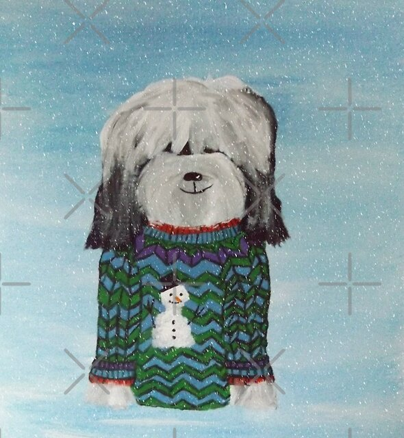 Tibetan Terrier - Christmas Jumper by Shani Burgess
