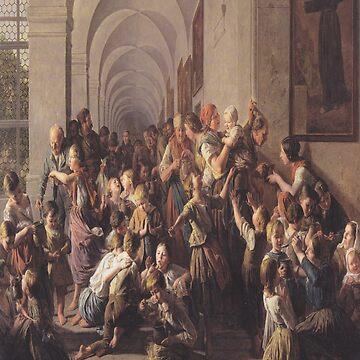 The cloister soup(Die Klostersuppe)-Ferdinand Georg Waldmüller by LexBauer