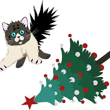 Cat in the Christmas tree by Skady666