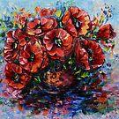 Mohnblumen in Vase mit Spachtel von OLena Art - Marke für #redbubble von OLena  Art ❣️