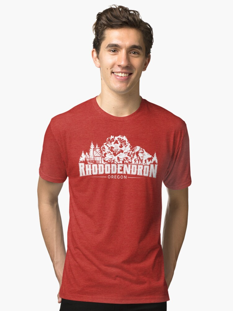 Alternate view of Rhododendron, Oregon - WHITE  Tri-blend T-Shirt