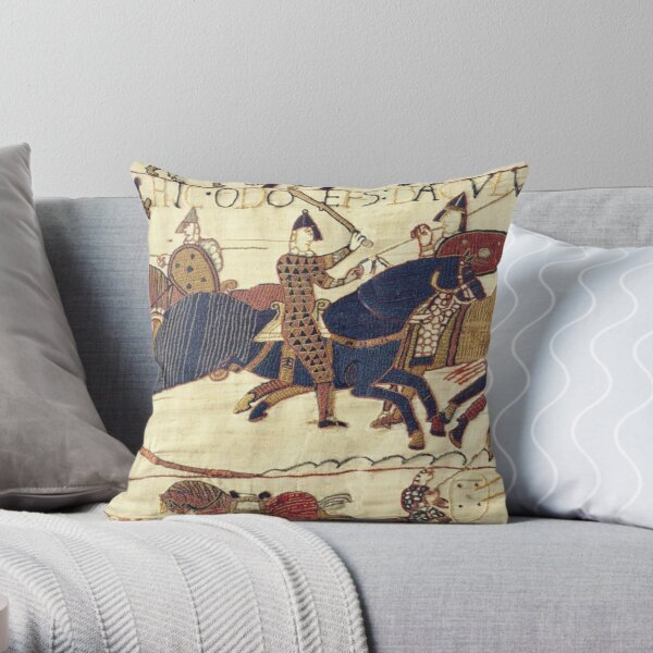 Bayeux Tapestry. Depicting Odo, Bishop, rallying troops during the Battle of Hastings. Throw Pillow