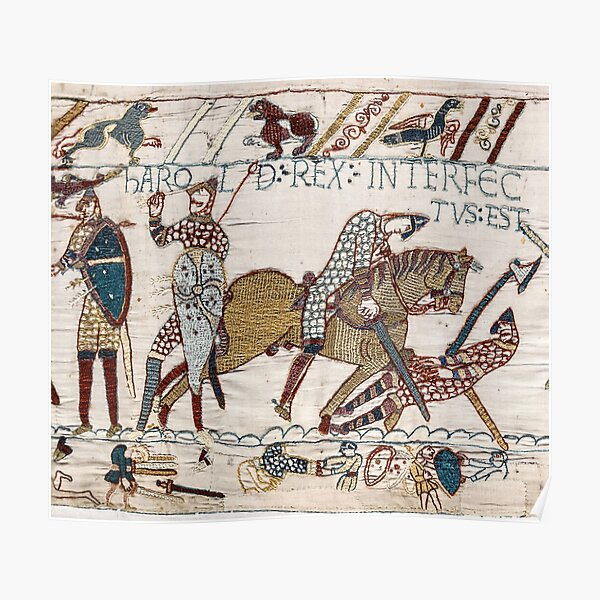 Bayeux Tapestry. King Harold is killed. Arrow in eye. Poster