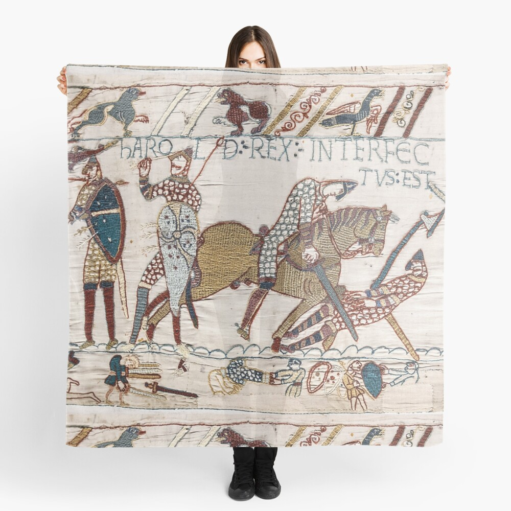 Bayeux Tapestry. King Harold is killed. Arrow in eye. Scarf