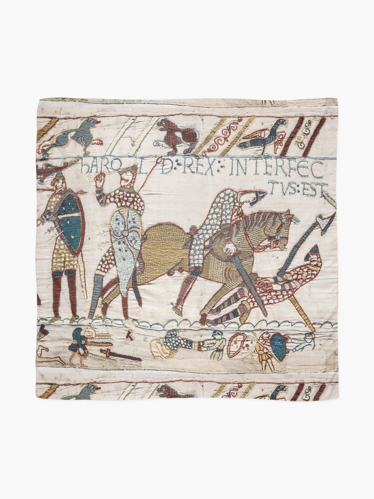 Alternate view of Bayeux Tapestry. King Harold is killed. Arrow in eye. Scarf