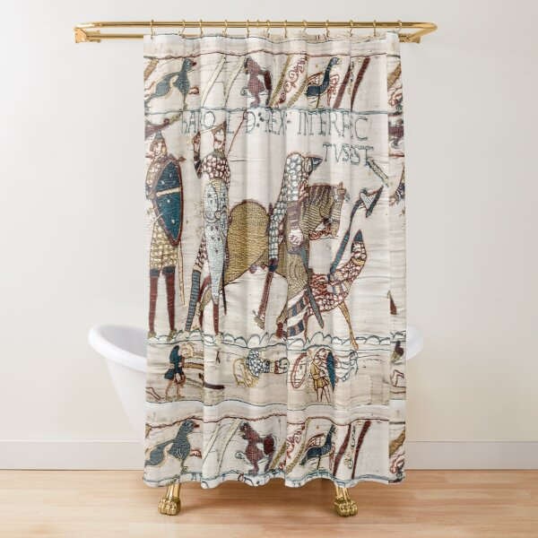 Bayeux Tapestry. King Harold is killed. Arrow in eye. Shower Curtain