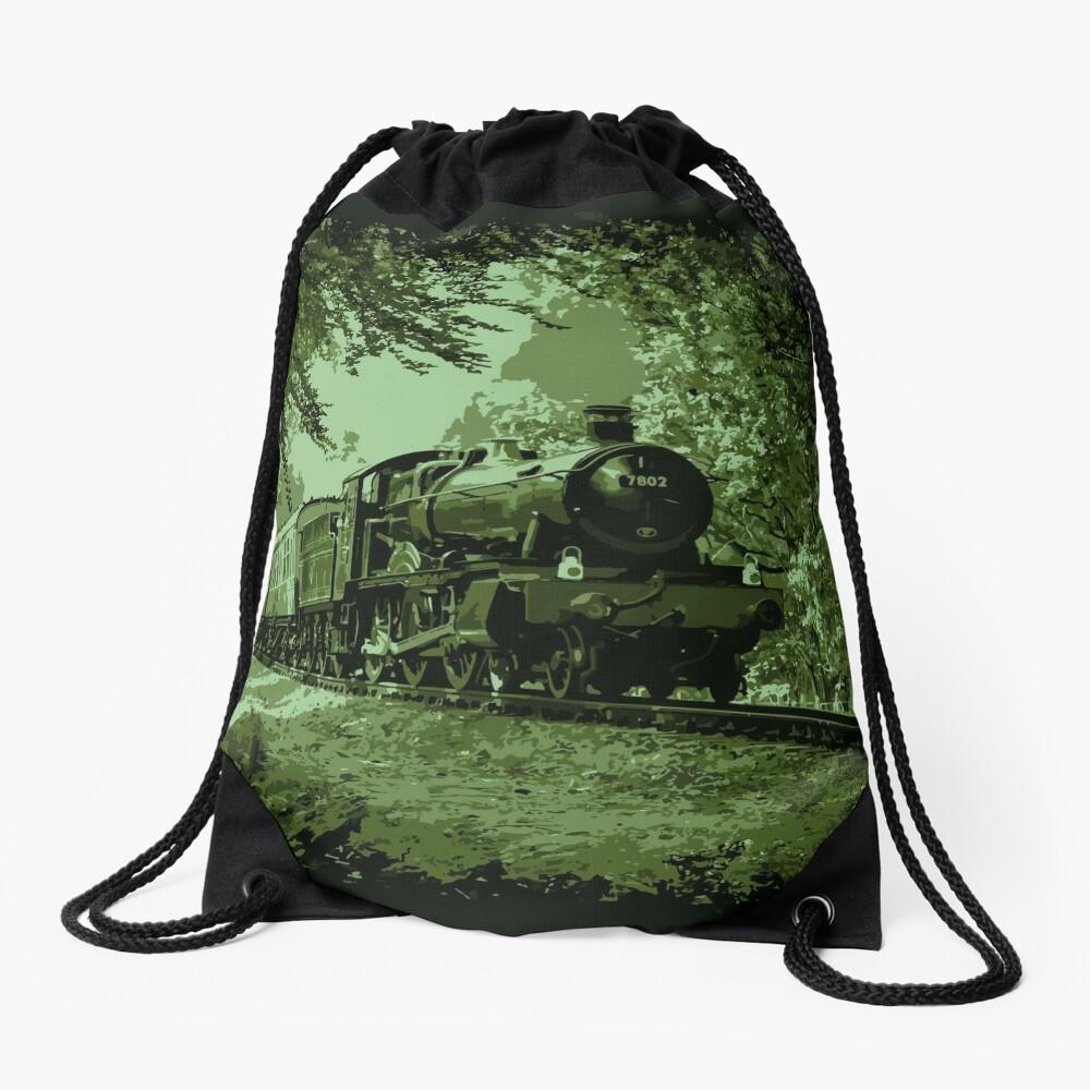 Steam Train in Green Drawstring Bag