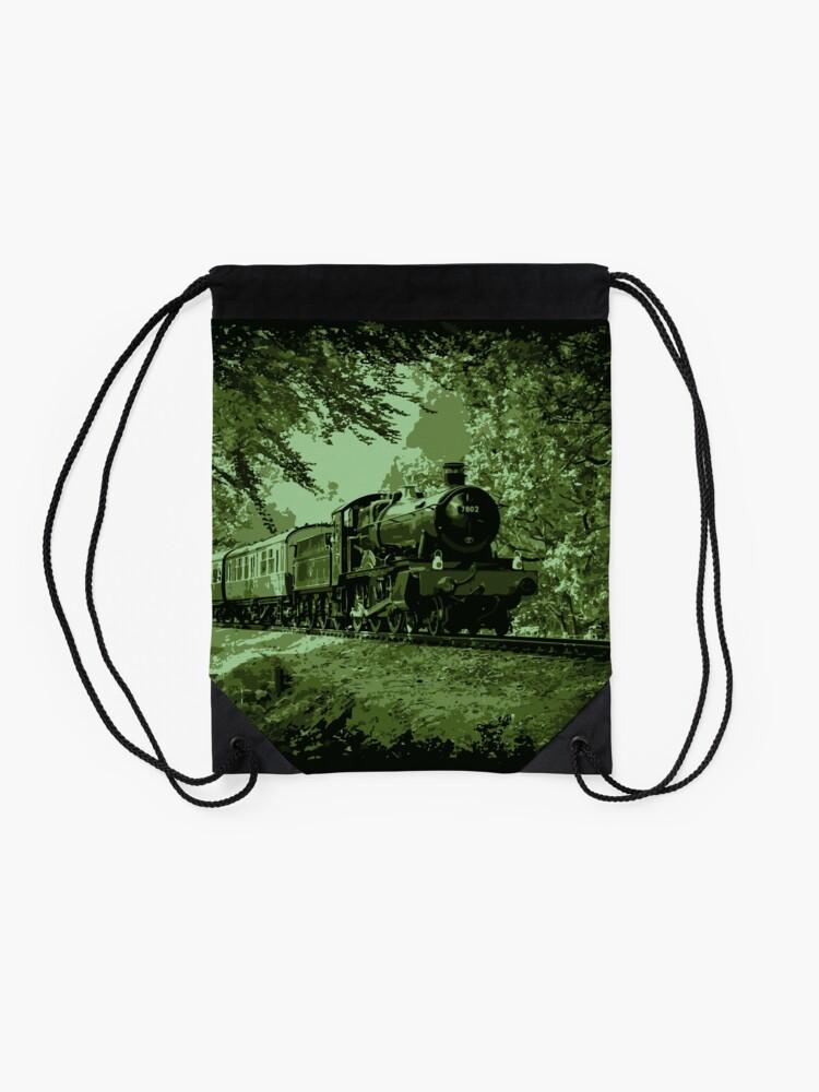 Alternate view of Steam Train in Green Drawstring Bag
