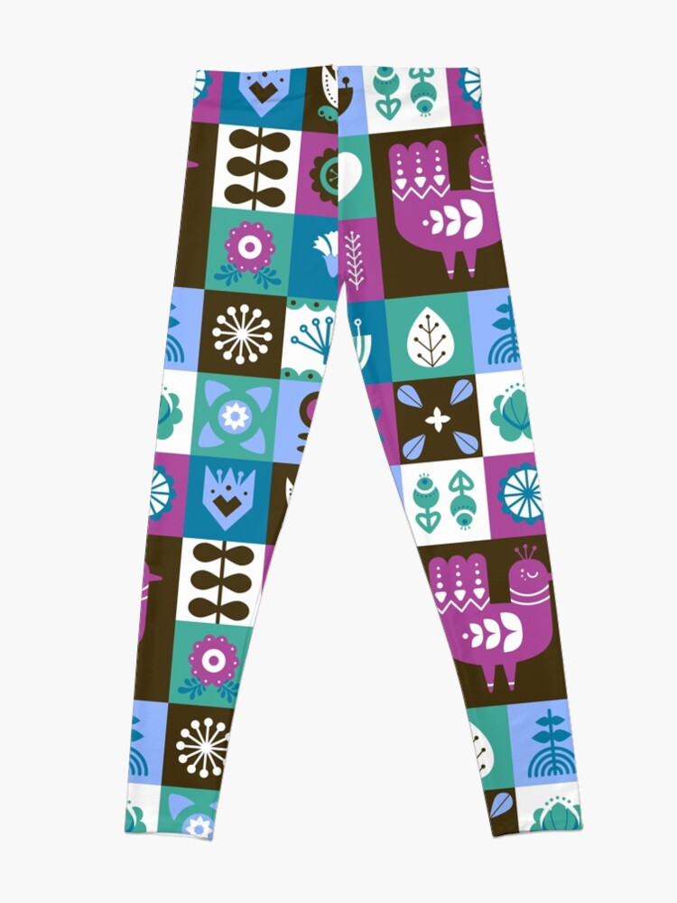 Alternate view of Scandinavian Midcentury Modern Composition With Birds And Flowers  Leggings
