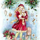 Weinlese-Karten-Weihnachtsentwurf von Jannafairyart