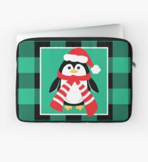 Christmas Penguin Buffalo Plaid Laptop Sleeve