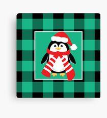 Christmas Penguin Buffalo Plaid Canvas Print