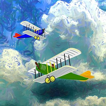 Vintage Biplanes Soaring Through the Clouds design by ZipaC