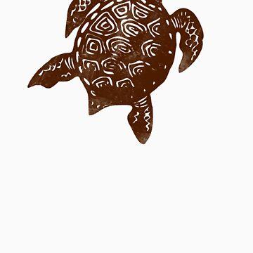 Turtle linocut by yvettebell