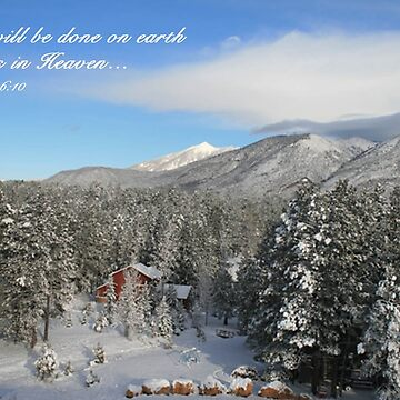 Winter Card with Snow, Red House by sdawsoncc