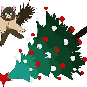 Cat is overturning Christmas tree by Skady666