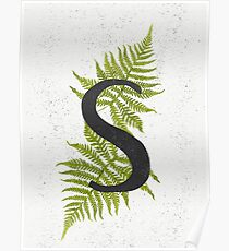 Black letter S monogram with green watercolor fern on beige background. Poster