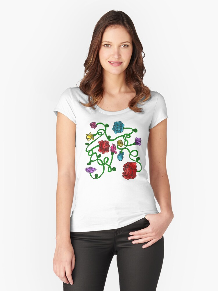 Flowers Women's Fitted Scoop T-Shirt Front