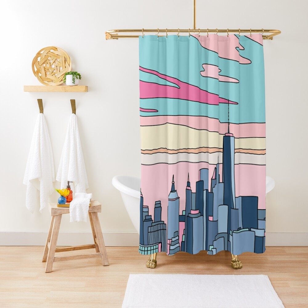City sunset by Elebea Shower Curtain