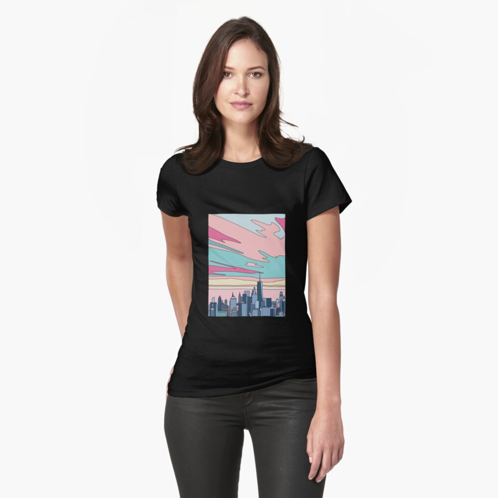 City sunset by Elebea Fitted T-Shirt