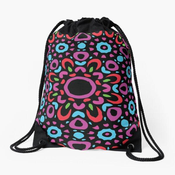Floral Abstract Multi Colour Mandala 1 Drawstring Bag