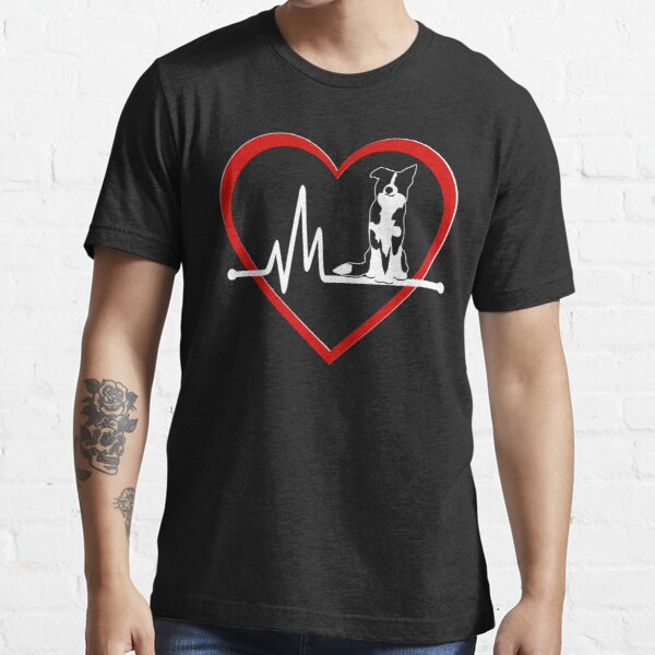 Border Collie Heart Beat    NickerStickers on Redbubble Essential T-Shirt
