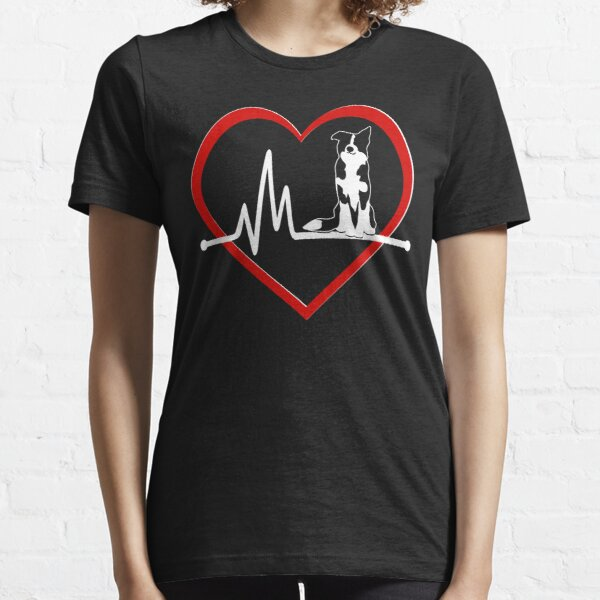 Border Collie Heart Beat  | NickerStickers on Redbubble Essential T-Shirt
