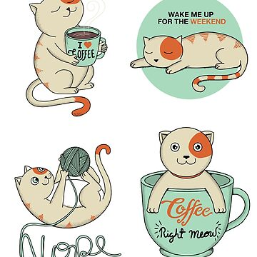 Cat stickers by coffeeman