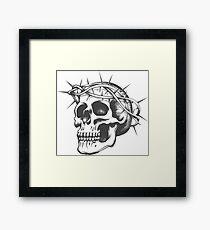 Skull in thorns wreath Framed Print