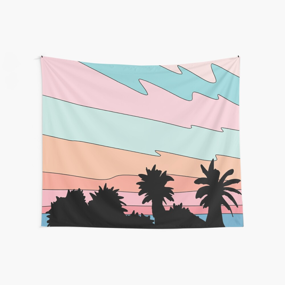 Beach sunset by Elebea Wall Tapestry