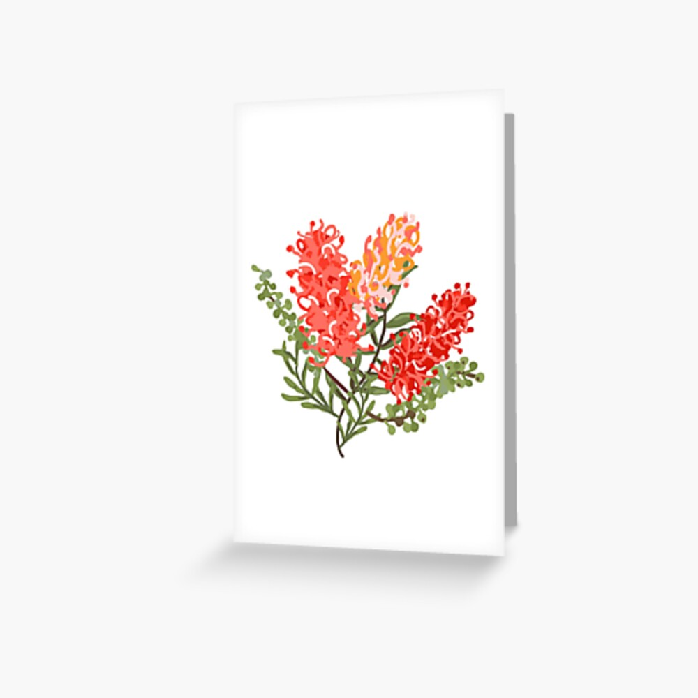 Contemporary Australian Grevillea Pantone Living Coral Greeting Card