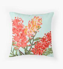 Contemporary Australian Grevillea Pantone Living Coral Throw Pillow