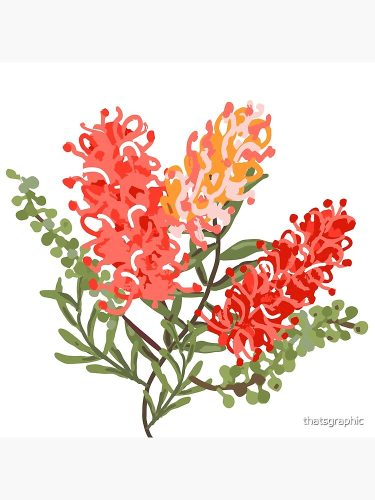 Contemporary Australian Grevillea Pantone Living Coral by thatsgraphic