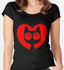 Cute Cartoon Cat In A Heart by Cheerful Madness!! Women's Fitted Scoop T-Shirt