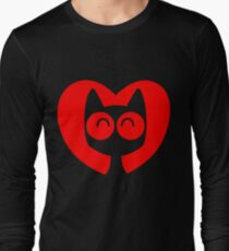 Cute Cartoon Cat In A Heart by Cheerful Madness!! Long Sleeve T-Shirt