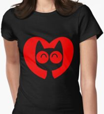 Cute Cartoon Cat In A Heart by Cheerful Madness!! Women's Fitted T-Shirt