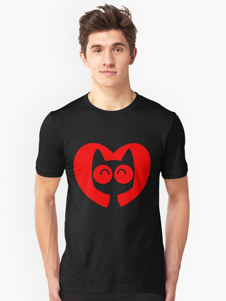 Cute Cartoon Cat In A Heart by Cheerful Madness!! Unisex T-Shirt Front